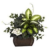 Nearly Natural 6684 African Violet Dieffenbachia and Ivy with Chest Decorative Silk Plant, Green by Nearly Natural