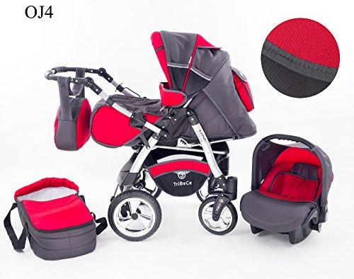"""Kinderwagen Babywagen Kombikinderwagen TriBeCe\""""Sun\"""" 3 in 1 Komplettset mit Zubehör 0-3 Jahre 0-15 kg Insektenschutz Netz Regenschutz Getränkehalter Buggy Autositz (OJ4)"""