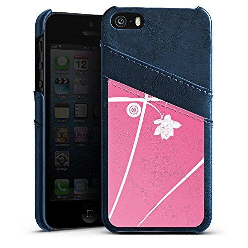 Apple iPhone 5s Housse Étui Protection Coque Fleurs Fleurs Ornements Étui en cuir bleu marine