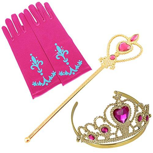 Prinzessin Zauberstab,Queen Krone,Strass,Tiaras & Handschuh Mädchen Geschenk-Set Prinzessin Karneval Verkleidung Party Cosplay Mädchen Handschuhe (Mädchen Schminken Ideen)