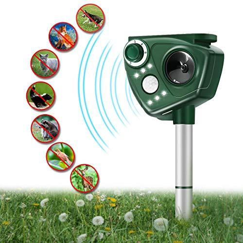 Focuspet Marderschreck, Upgrade Katzenschreck Ultraschall Tiervertreiber mit Solar, Blitz, Akku für Hunde, Katze, Eichhörnchen, Ratte, Waschbären usw.