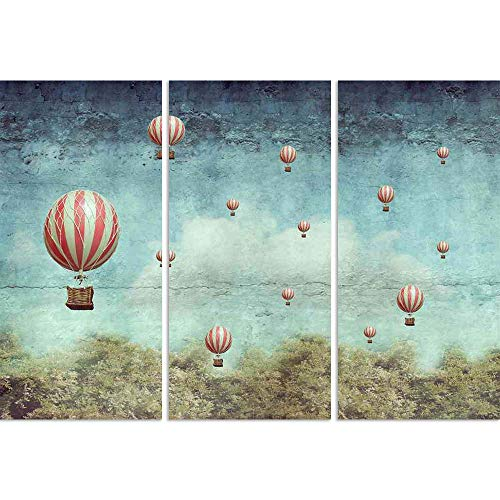 ArtzFolio Hot Air Balloons Flying Over A Forest Split Art Painting Panel On Sunboard 30 X 20.9Inch -
