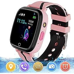 Reloj GPS Niños Smartwatch Phone - Reloj de Pulsera Inteligente con Ubicación GPS LBS Reloj con Call Voice Chat SOS Cámara Niños Cumpleaños (Rosa)