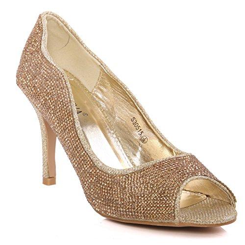 Oz Para As Mulheres Elipse 'sapatos Peep Toe Decorados - Ouro S30515