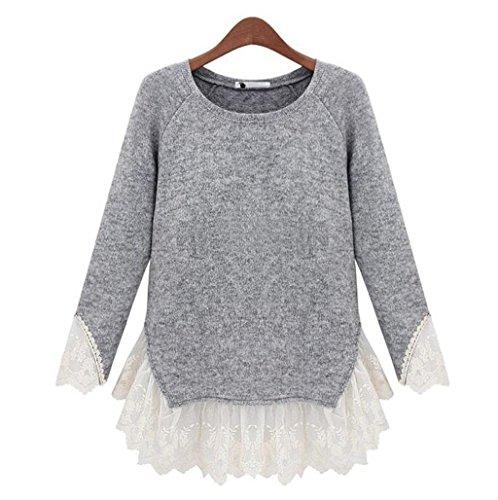fashion damen strickpullover lace stitching rundhalsausschnitt bluse pullover beiläufige hohle sweatshirts langarm retro sportswear t shirt elastizität tops . light gray . m