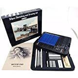 مجموعة رسم متكاملة من 50 قطعة للرسامين ، Drawing and Sketching Pencil Set, Sketch Pencils Set, Art Supplies Drawing Kit with
