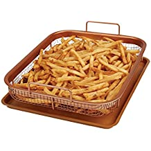 High Street TV Copper Crisper by Copper Chef, Non-Stick Oven Baking Tray with Elevated Mesh Crisping Basket (2 Piece Set)