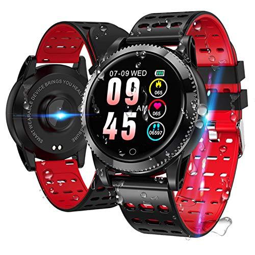 Smartwatch Smart Armband blutdruck uhr mit herzfrequenz wasserdicht Fitness Tracker aktivitätstracker bluetooth Sports Watch Schlafmonitor schrittzähler smart armband uhr für iOS Android Rot