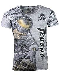Herren T-Shirt Totenkopf Skull Vintage Aufdruck Biker Tatoo Schwarz Weiß Grau Ol Kleidung & Accessoires