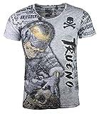Herren T-Shirt - Skull Tattoo - Totenkopf Tätowierer - mit Strass Steinen - grau (XXL)