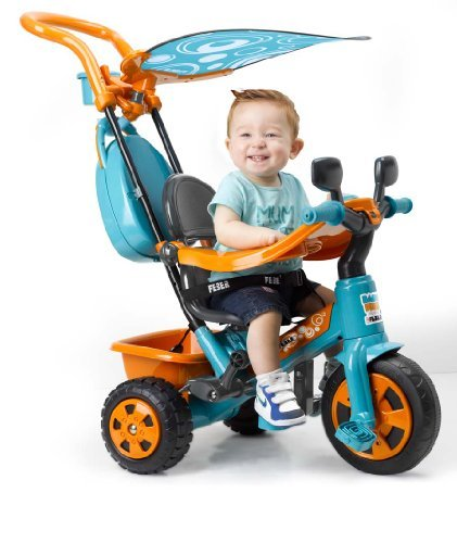 FEBER - Triciclo Baby Plus Music (Famosa), color naranja-azul