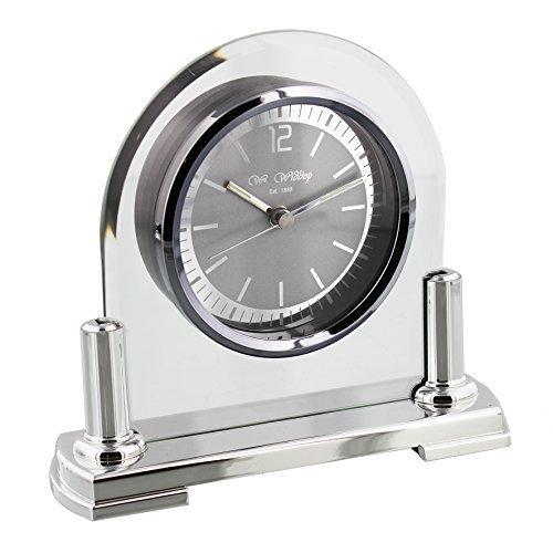 Modern Stylish Glass & Silver Two Tone Quartz Arched Design Mantel Clock by Wm Widdop