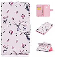 Huawei P9 Lite Case- Linvei Colorful Printing Bookstyle Case Flip Wallet case-( Leather Case,Pink )