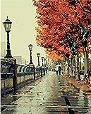 Romantische Liebe Herbst Landschaft-DIY Malen nach Zahlen Kit Digital-Ölgemälde auf Leinwand 16x20 Zoll Einzigartige Geschenke Frameless