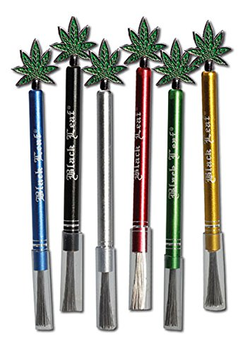 patchouliworld-black-leaf-steel-brush-with-point-for-pipe-filters-cleaning-tool-for-bongs-black-leaf