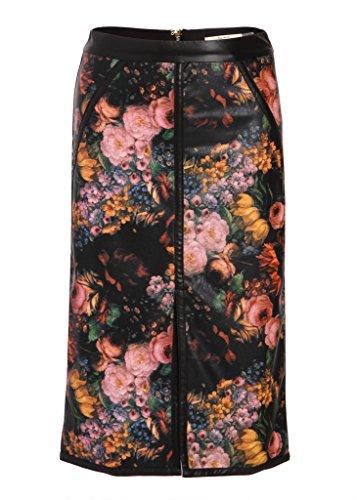 Floraler PU Kunstleder Rock Pencil Skirt mit Blumenmuster – Gr. - Skirt Pencil Schlitz Mit