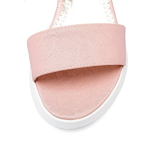 VogueZone009 Damen Hoher Absatz Weiches Material Rein Schnalle Keilsandale Mit Plateau Pink