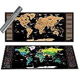 tenger Scratch World Map Scratch Originale off Deluxe Mappa dell'UE Personalizzato Mappa dettagliata Poster Scratch Tool di precisione e Gli Adesivi di Memoria da Viaggio 94 x 40 cm