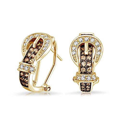 Gold plated jewelry Bling Coffee CZ buckle Omega earrings