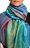 Large Ombre Paisley & Diamond On Dodger Blue Pashmina Feel With Tassels - Blau Scarf, Schal Einheitsgroesse (70cm x 180cm)