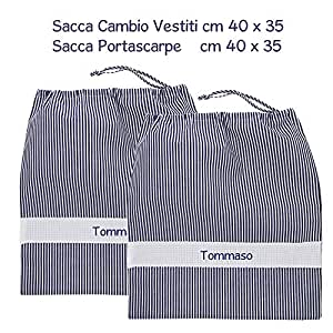 Coccole- Set due sacche per ASILO NIDO e SCUOLA MATERNA 3 mesi- 3 anni per cambio asilo e per scarpe con nome personalizzato (Blu)