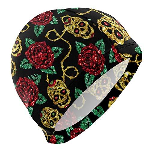 kappe Sugar Skulls Rose Glitter Halloween Lycra Swim Cap Swimming for Women Men ()