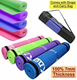 Yoga Mat 6mm (Now 7mm at same price) Soft Non Slip Extra Thick ABs Exercise Fitness Gymnastic Physio Pilates Workout Pad