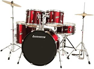 Ludwig Accent Drive Red 5 Piece Drum Set (Includes Hardware, Throne, Pedal, Cymbals, Sticks And Drum Key)