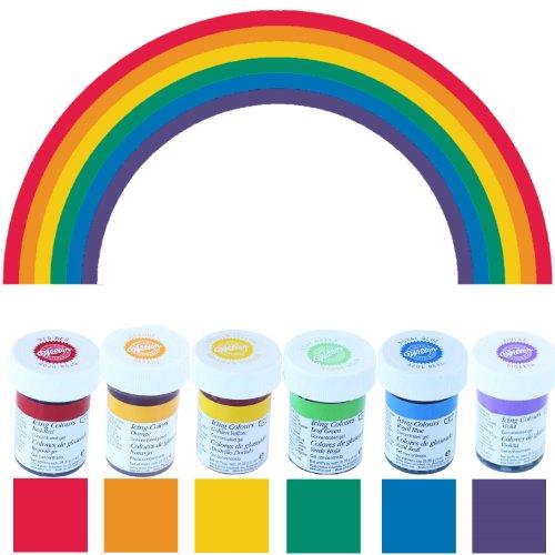 bakeryteam Wilton Gelfarben im Spar-Set Regenbogenmix (6 x 28 g) (Lebensmittelfarbe Set)