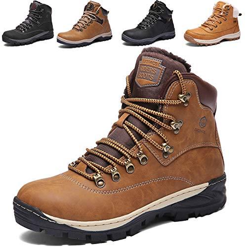SIXSPACE Herren Winterstiefel Warm Gefütterte Winterschuhe Outdoor Schneestiefel Wanderschuhe Rutschfeste Arbeitsschuhe Winter Boots (Kamel 42 EU)