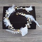 Littlefairy Braut Haarschmuck,Braut Kopfschmuck Handgefertigte Feder Haar Gurt Krone Brautkleid mit Zubehör