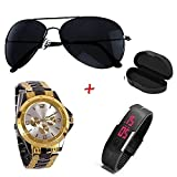 #6: PRIMESHOP Unisex Aviator Black Sunglass and Analog and LED Digital Watch Combo Set (Sunglasses & Watch)