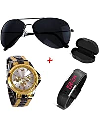Primeshop Unisex Aviator Black Sunglass & Analogue & Led Digital Watch Combo Set For Men (Sunglasses & Watch)_...