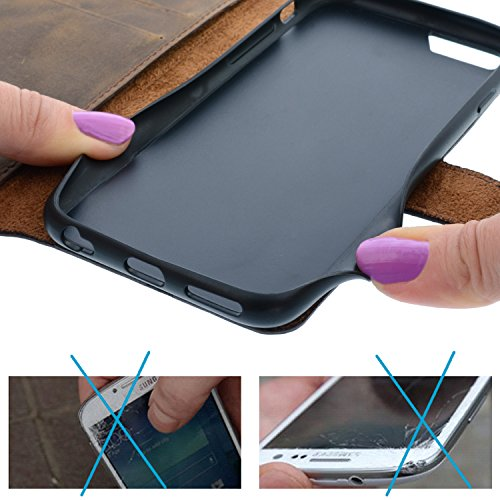 "Blumax Handytasche iPhone 8 iPhone 7 iPhone 6/6s echt Ledertasche mit abnehmbare Hülle Wallet case Leder 4,7"" Zoll antik Braun Vintage Cover mit Magnet Antik Braun"