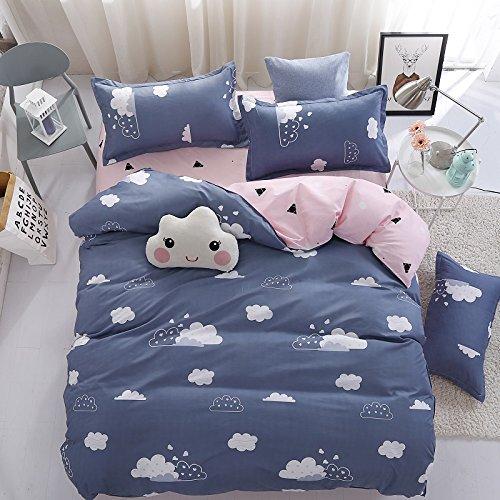 KFZ Bett Set (Zwei Full Queen King Size) [3/4PCS: Bettbezug, Bettlaken, 1/2Kissen] nicht Schmusetuch JSD frischen Stil leuchtenden, goldenen Krone Design für Jugendliche, Kinder, Erwachsene, Microfaser, Bright Cloud, Blue, Full 70