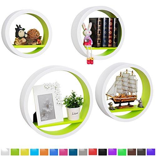 WOLTU RG9231gn Wandregal Schweberegale, 4er Set Rund Regal, Retro Bücherregal, MDF Holz, DIY Zum Hängen, Weiß-Grün (Bücherregal Mdf Regal 4)