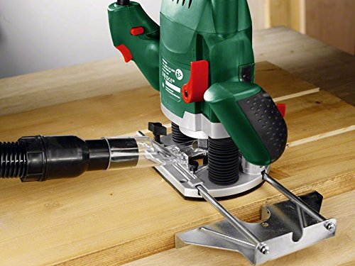 Bosch DIY Oberfräse POF 1200 AE, Nutfräser, Absaugadapter, Gabelschlüssel, Kopierhülse, Parallelanschlag, 3 Spannzangen, Zentrierstift (1.200 W,max. 28.000 1/min, Nutfräser-Ø 8 mm) - 2