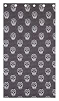 """Geometric Skulls Distressed Grey White Cotton Blend 66"""" X 72"""" - 168cm X 183cm Ring Top Curtains by Curtains"""