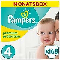 Pampers Premium Protection Windeln, Gr. 4 Maxi (8-16 kg), Monatsbox, 1er Pack (1 x 168 Stück)