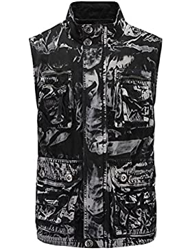 Zhhlaixing suave Mens Camouflage Waistcoat Stand Collar Mountain Working Outdoor Vest Size M-XXL Gift for Father's...