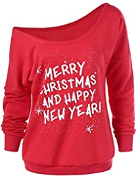 LILICAT❋ Moda Mujer Feliz Navidad Casual Manga Larga Cuello Sesgado Sudadera Blusa Feliz Navidad y Feliz año Navidad Cuello Inclinado Manga Larga Carta suéter