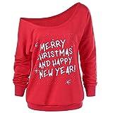 TianWlio Frauen Langarmshirt Bluse Hoodie Pullover Langarmshirt Kapuzenpullover Sweatshirt Herbst Mode Frohe Weihnachten Beiläufig Langarm Skew Hals Sweatshirt Bluse