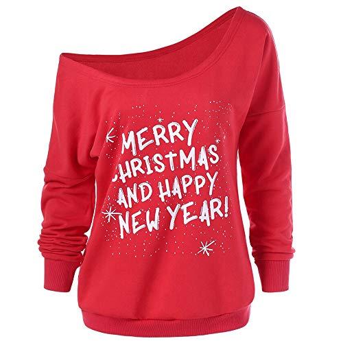 Sannysis Damen Anker Weg von der Schulter Sweatshirt Pullover Tops Blusen Weihnachtspulli Sweater Pullover Merry Christmas Rentier Weihnachten Pulli