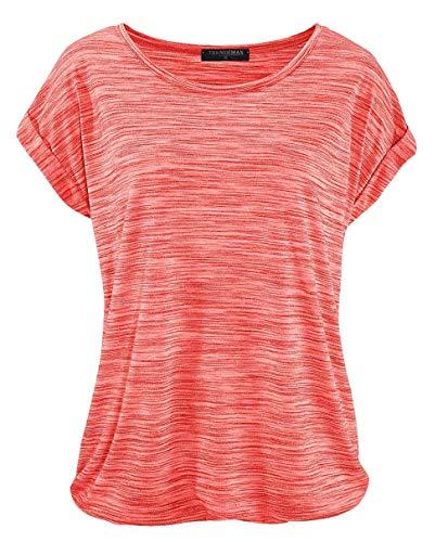 Basic T-shirt Top (TrendiMax Damen T-Shirt Kurzarm Sommer Shirt Lose Strech Bluse Tops Causal Oberteil Basic Tee (Kralle, XL))