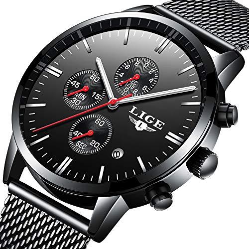 LIGE Uhr Herren Mode Schwarz Quarz Analog Edelstahl Uhr Mit Wasserdicht milanaise mesh Armband Chronograph…