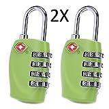 Cestvel TSA Reiseschloss/Gepäckschloss 4 Nummern Kombination Code Sicherheit Vorhängeschloss für Reisekoffer Gepäck 2 Stück (Grün)