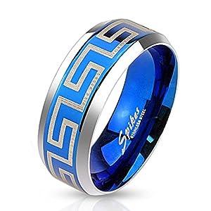 Bungsa® Blauer Labyrinth Ring Edelstahl Frauen & Männer 49-70 (Damen Herren Fingerring Modering Schmuck Partnerringe Verlobungsringe Trauringe Damenring Edelstahlring Chirurgenstahl)