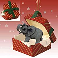 Eyedeal Figurines ELEPHANT Stands n Red GIFT BOX New Christmas Ornament Resin RGBA16