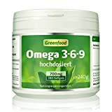 Greenfood - Omega 3-6-9, 700 mg, 240 gélules, des doses élevées - important pour le cœur, le cerveau, les yeux et le taux de cholestérol. Pour le saumon, l'huile d'onagre et de graines de lin. SANS additifs artificiels. OGM.