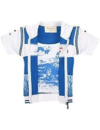 TONYBOY Boys Stylish Printed Jacket (WhiteBlue)